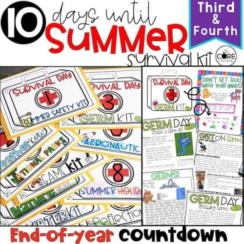 End Of School Year Countdown Themed Activities For 3-4