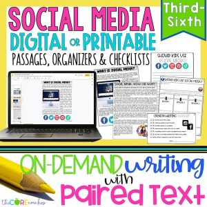 Social Media - Print Or Digital Paired Text Passages & Opinion Writing