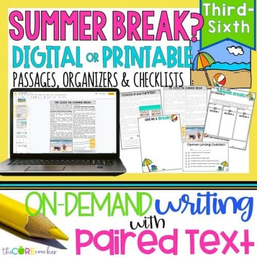 Print Or Digital Paired Text Passages & Opinion Writing